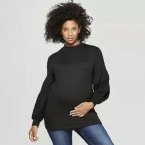 Isabel Maternity by Ingrid & Isabel Tops - Isabel Maternity Voluminous Sleeve Black Shirt L